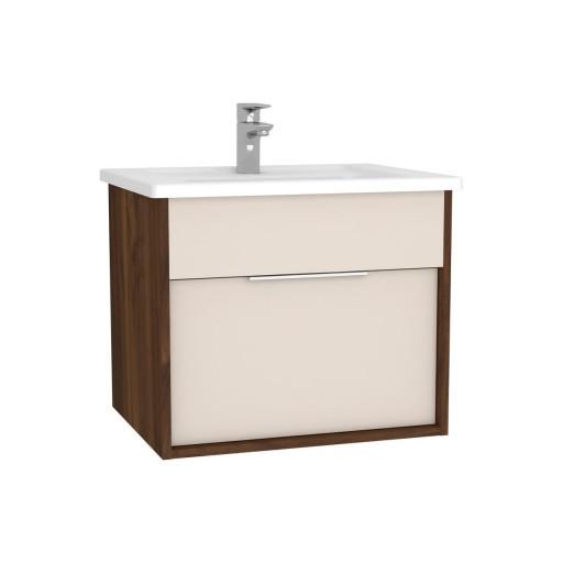 VitrA Integra Vanity Unit & Basin - 600MM - Cashmere & Metallic Walnut
