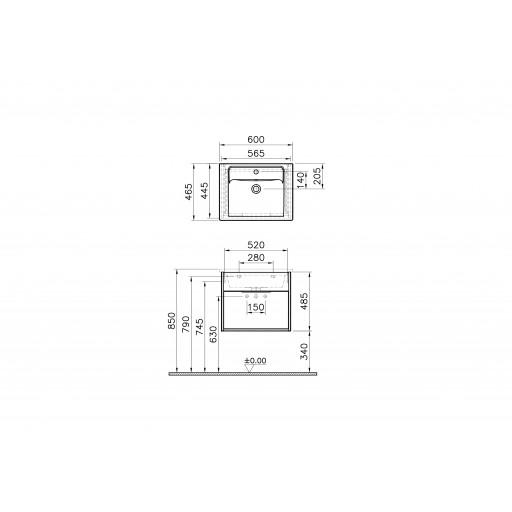 VitrA Integra Vanity Unit & Basin - 600MM - Grey Elm & Gritstone