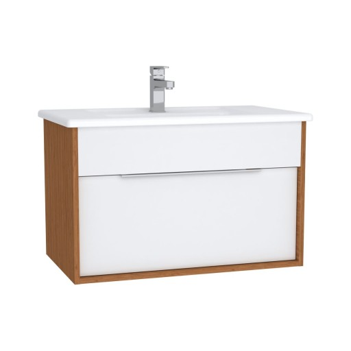 VitrA Integra Vanity Unit & Basin - 800MM - Gloss White & Bamboo