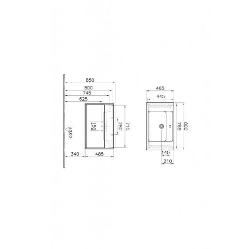 VitrA Integra Vanity Unit & Basin - 800MM - Grey Elm & Gritstone