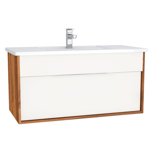 VitrA Integra Vanity Unit & Basin - 1000MM - Gloss White & Bamboo