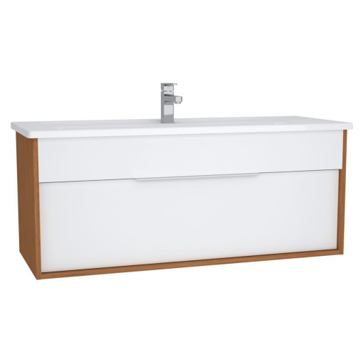 VitrA Integra Vanity Unit & Basin - 1200MM - Gloss White & Bamboo