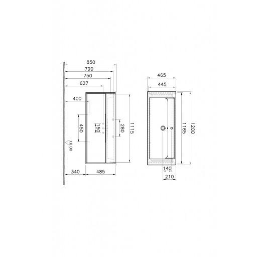 VitrA Integra Vanity Unit & Basin - 1200MM - Cashmere & Metallic Walnut