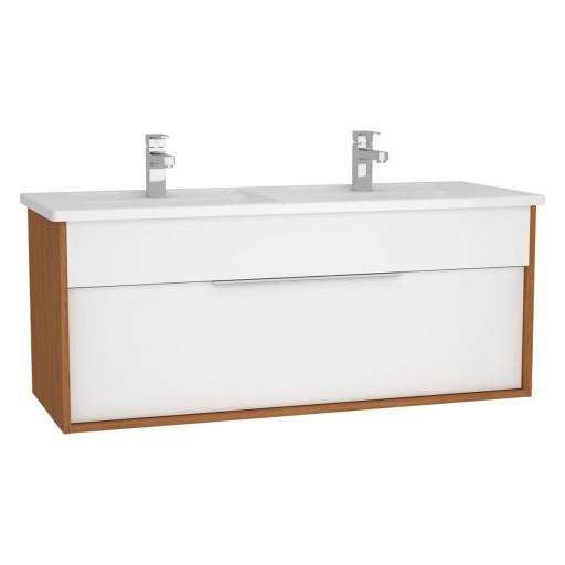 VitrA Integra Vanity Unit & Double Basin - 1200MM - Gloss White & Bamboo