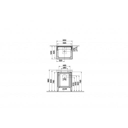 VitrA Valarte Left Hinged Matt Grey Vanity Unit & Single Tap Basin - 650MM
