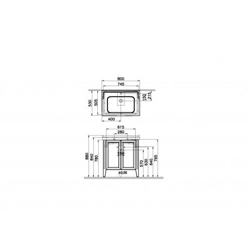 VitrA Valarte Double Door Matt Grey Vanity Unit & Single Tap Basin - 800MM