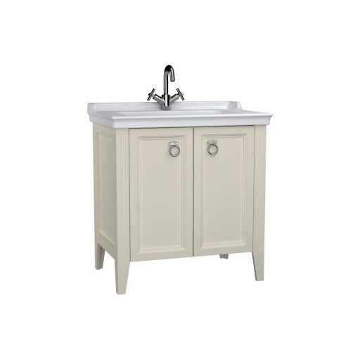 VitrA Valarte Double Door Matt Ivory Vanity Unit & Single Tap Basin - 800MM