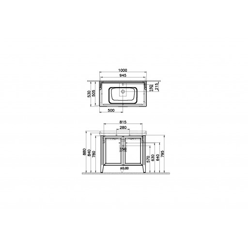 VitrA Valarte Double Door Matt Grey Vanity Unit & Single Tap Basin - 1000MM