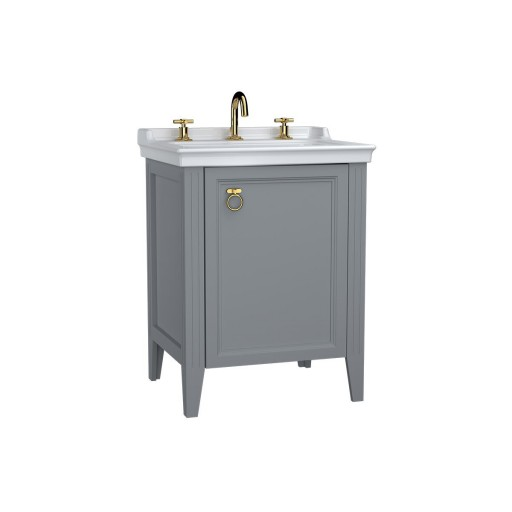 VitrA Valarte Right Hinged Matt Grey Vanity Unit & Triple Tap Basin - 650MM