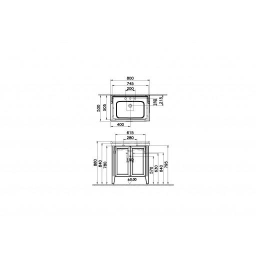 VitrA Valarte Double Door Matt Ivory Vanity Unit & Triple Tap Basin - 800MM