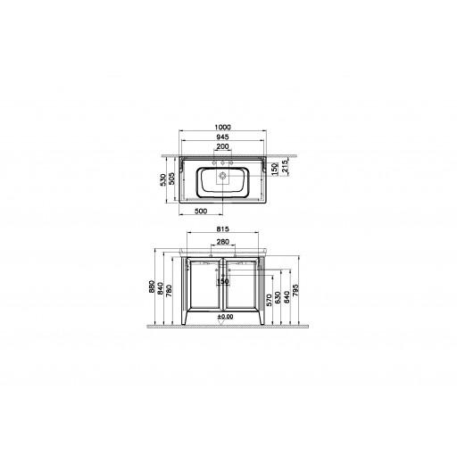 VitrA Valarte Double Door Matt Grey Vanity Unit & Triple Tap Basin - 1000MM