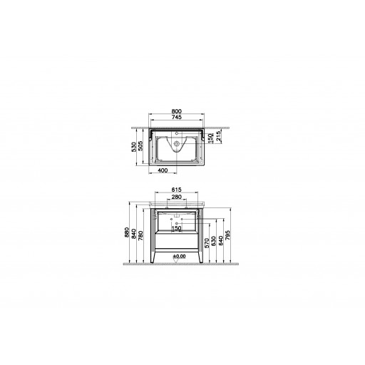 VitrA Valarte Single Drawer Matt Grey Vanity Unit & Single Tap Basin - 800MM