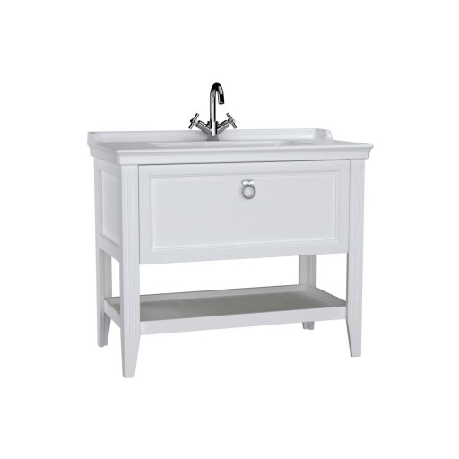 VitrA Valarte Single Drawer Matt White Vanity Unit & Single Tap Basin - 1000MM