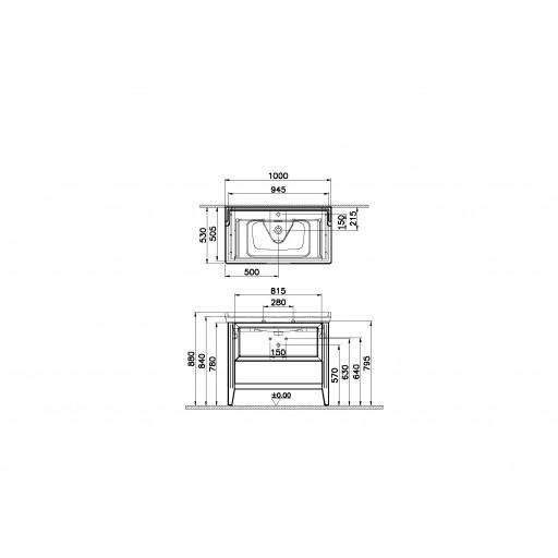 VitrA Valarte Single Drawer Matt Grey Vanity Unit & Single Tap Basin - 1000MM