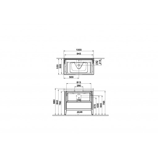 VitrA Valarte Single Drawer Matt Ivory Vanity Unit & Single Tap Basin - 1000MM