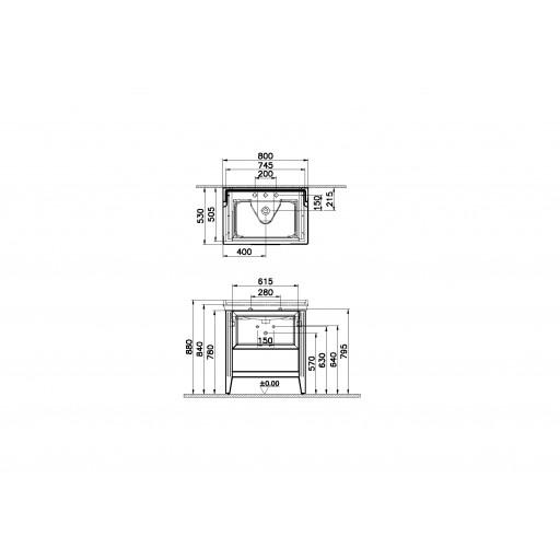 VitrA Valarte Single Drawer Matt Grey Vanity Unit & Triple Tap Basin - 800MM