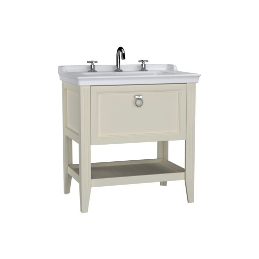 VitrA Valarte Single Drawer Matt Ivory Vanity Unit & Triple Tap Basin - 800MM