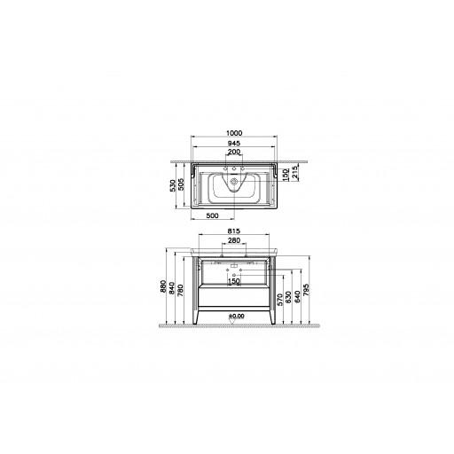 VitrA Valarte Single Drawer Matt Grey Vanity Unit & Triple Tap Basin - 1000MM