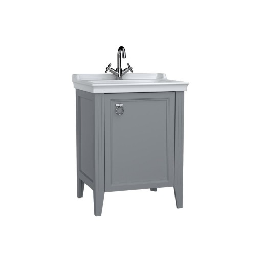 VitrA Valarte Right Hinged Matt Grey Vanity Unit & Single Tap Basin - 650MM